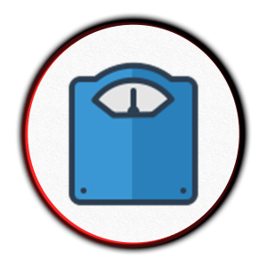 Scale icon for weight loss.